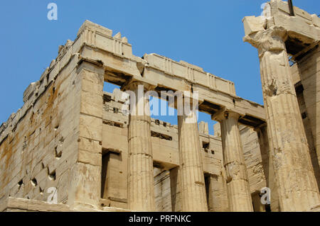 Greece. Athens. Propylaea. Monumental gateway to the Acropolis. It was designed by the architect Mnesicles, 437 BC-432BC. (The Age of Pericles). Doric style columns. Architectural detail. - Stock Photo