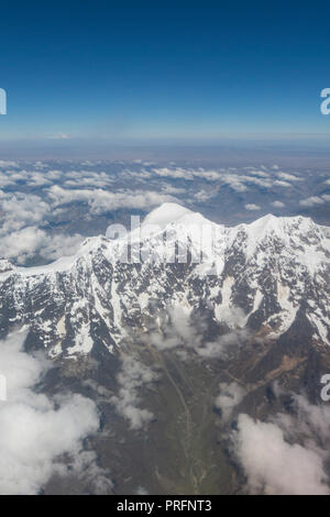 Aerial view of Huayna Potosi. The Cordillera Real is a mountain range in the South American Altiplano of Bolivia. This range of fold mountains, largel - Stock Photo