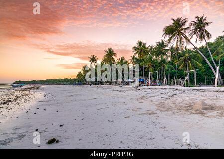 Pantai Bara beach at sunset, Bira, Sulawesi, Indonesia - Stock Photo