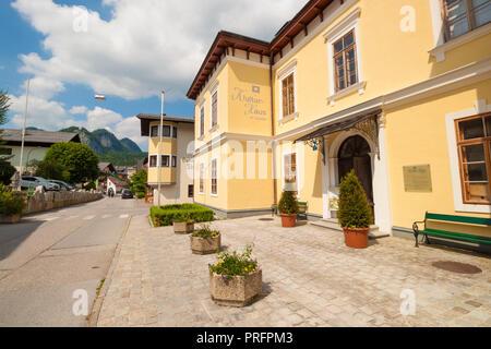 St. Gilgen, Austria - May 31, 2017: House of culture in alpine village St. Gilgen, Austria - Stock Photo