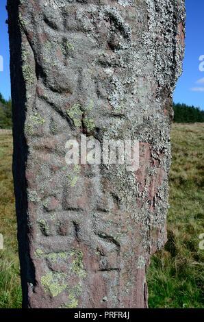 Maen Madoc Maen Madog standing stone menhir with Latin inscription alongside Sarn Helen Roman Road Brecon Beacons Fforest Fawr Geopark Wales cymru UK - Stock Photo