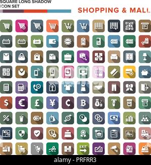 Shopping Mall icons set with long shadow isolated, vector illustration - Stock Photo