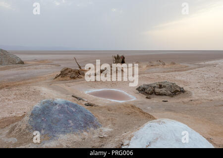 A pile of colorful salt in dry salt lake Chott El Djerid, Tunisia, Africa - Stock Photo
