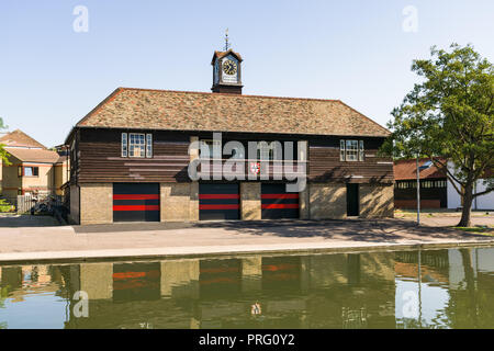Exterior of Jesus College Boathouse by the river Cam on a sunny Summer day, Cambridge, UK - Stock Photo