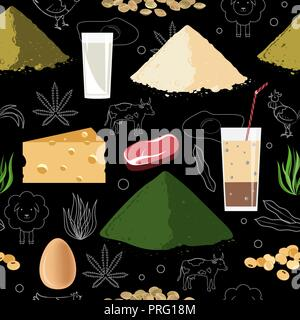 Sports nutrition seamless pattern. Bodybuilding and fitness supplement doodle objects on white background. Protein food and protein powder. Bodybuildi - Stock Photo