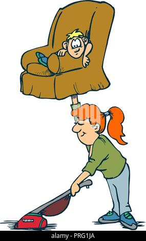 Creative design concepts of housewife activity. Mother and son, housework. Vector illustration - Stock Photo