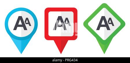 New red, blue and green vector pointers icons. Set of colorful location markers isolated on white background easy to edit. - Stock Photo