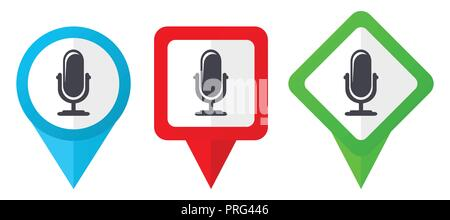 New product red, blue and green vector pointers icons. Set of colorful location markers isolated on white background easy to edit. - Stock Photo