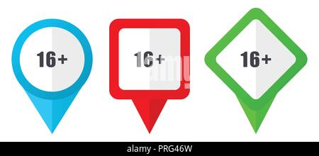 Print red, blue and green vector pointers icons. Set of colorful location markers isolated on white background easy to edit. - Stock Photo