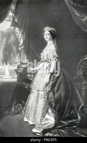 Empress Eugenie of the French in 1854, Eugénie de Montijo.  The last Empress Consort of the French, as the wife of Napoleon III - Stock Photo