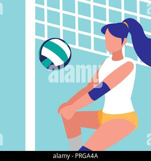 young woman practicing volleyball isolated icon vector illustration design - Stock Photo