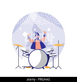 man playing drums avatar character vector illustration design - Stock Photo