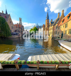 The classic view of Brugges depicting the Belfry tower and the Rozenhoedkaai area of Brugges, Belgium