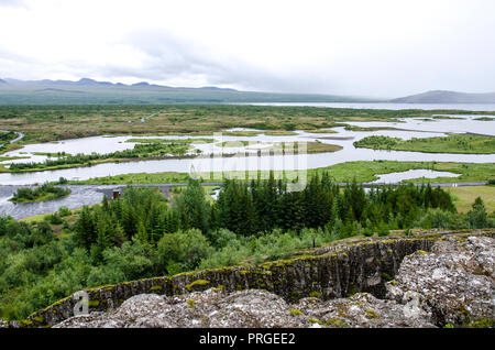 Iceland - Thingvellir National Park - UNESCO World Heritage Site - The seperation of two tectonic plates, north American and European plates - Golden - Stock Photo