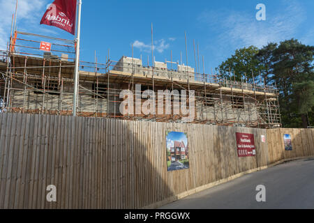 Heathlands new housing development construction site by Linden Homes in Frimley, Surrey, UK - Stock Photo