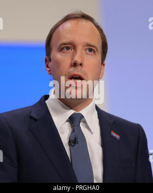 Birmingham, UK. 2nd Oct, 2018. Matthew Hancock Mp Secretary Of State For Health & Social Care Conservative Party Conference 2018 The Icc, Birmingham, England 02 October 2018 Addresses The Conservative Party Conference 2018 At The Icc, Birmingham, England Credit: Allstar Picture Library/Alamy Live News - Stock Photo