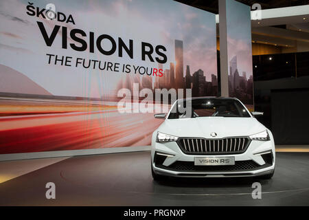 Paris, France. 2nd October, 2018. Mondial Paris Motor Show 2018 has opened its gates to the press on October 2nd. Main car manufacturers have given press junkets to unveil last new products. Credit: Paul-Marie Guyon/Alamy Live News - Stock Photo