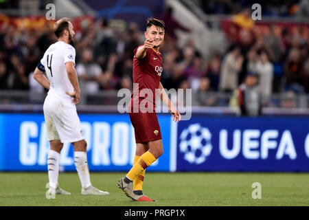 Cengiz Under of AS Roma celebrates scoring third goal during the UEFA Champions League group stage match between Roma and FC Viktoria Plzen at Stadio Olimpico, Rome, Italy on 2 October 2018. Photo by Giuseppe Maffia.   Editorial use only, license required for commercial use. No use in betting, games or a single club/league/player publications. - Stock Photo