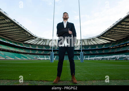 Twickenham, UK. 2nd October 2018. Former Northampton Saints and Wallabies centre, Rob Horne, who retired through injury, poses for photos to promote the Northampton Saints v Leicester Tigers Gallagher Premiership round 6 match at Twickenham Stadium, London, UK. Andrew Taylor/Alamy Live News - Stock Photo