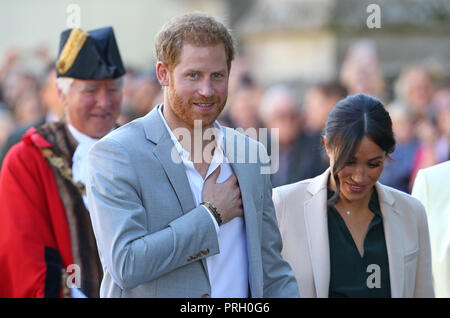 Chichester, Sussex, UK. 3rd October, 2018. The Duke and Duchess of Sussex arrive at Edes house in Chichester during their first official visit to Sussex on October 03, 2018 in Chichester, West Sussex England. Editorial Use Only Credit: Paul Terry Photo/Alamy Live News - Stock Photo