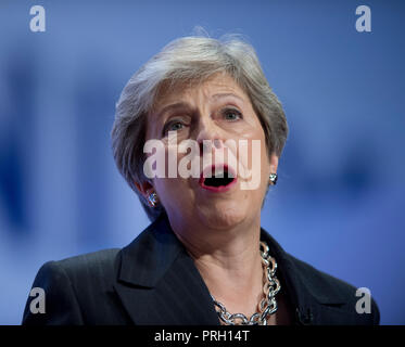 Birmingham, UK. 3rd October 2018. Theresa May, Prime Minister, First Lord of the Treasury, Minister for the Civil Service and Conservative MP for Maidenhead, speaks at the Conservative Party Conference in Birmingham. © Russell Hart/Alamy Live News. - Stock Photo
