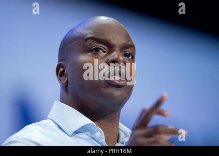 Birmingham, UK. 3rd October 2018. Shaun Bailey, Conservative Candidate for London Mayor, speaks at the Conservative Party Conference in Birmingham. © Russell Hart/Alamy Live News. - Stock Photo