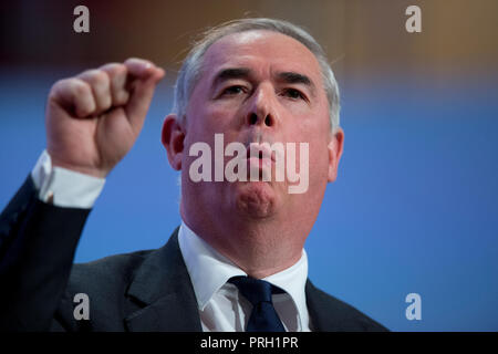 Birmingham, UK. 3rd October 2018. Geoffrey Cox MP, The Attorney General, speaks at the Conservative Party Conference in Birmingham. © Russell Hart/Alamy Live News. - Stock Photo