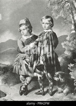 Prince Albert Edward, Prince of Wales, future King Edward VII, with his younger brother Alfred, in highland dress, in 1849 - Stock Photo