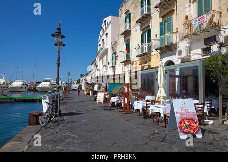 Harbour restaurants at Ischia Porto, Ischia island, Gulf of Neapel, Italy - Stock Photo
