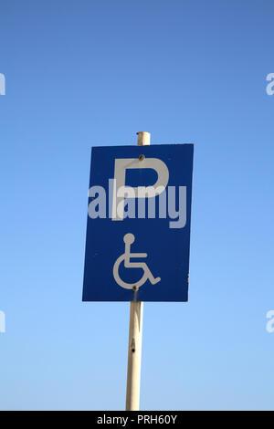 Kea Island Greece Port Korissia Disabled Parking Bay Sign - Stock Photo