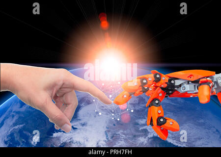 Human and robotic automate technology era connected for future world concept.Elements of this image furnished by NASA - Stock Photo