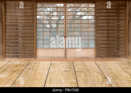 japanese style sliding door in traditional house. - Stock Photo
