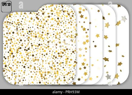 Set of seamless Stars and dots pattern. White background, gold, gift wrap. Vector illustration. 5 in 1 - Stock Photo