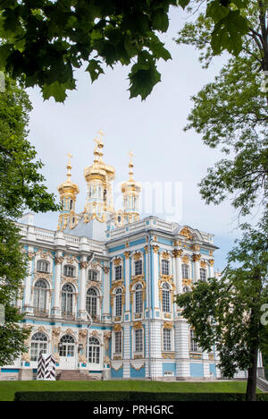 Catherine Palace is a Rococo palace located in the town of Tsarskoye Selo (Pushkin) - St. Petersburg - Russia - Summer residence of the Russian tsars - Stock Photo