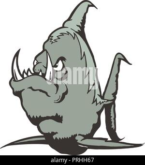 Sea Monster cartoon character. Vector Illustration. - Stock Photo