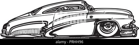 Vector retro hotrod car clipart caartoon Illustration. classic vintage car - Stock Photo