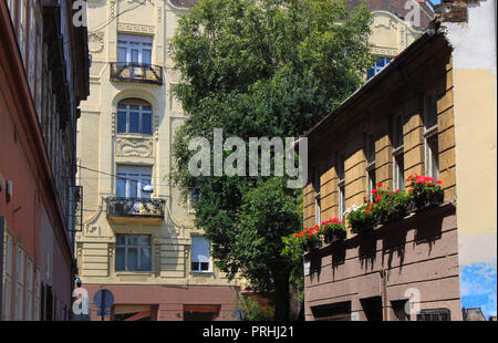 Detail of Kazinczy street in the old Jewish Quarter of Budapest, Hungary, Eastern Europe - Stock Photo