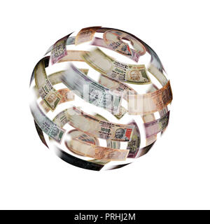 Currency notes in the shape of the Earth moving in a blur - Stock Photo