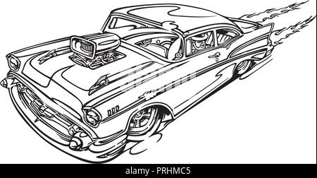 Muscle Car Sketch Vector Drawing Separated On White Stock Vector