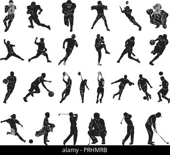 Set of Sports people Silhouettes collection. Vector Illustration. - Stock Photo