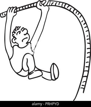 High jump sports. outlined cartoon handrawn sketch illustration vector. - Stock Photo