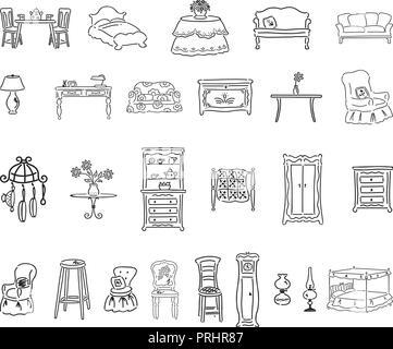 furniture set. outlined cartoon handrawn sketch illustration vector.. Collection set - Stock Photo