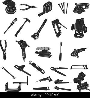 Construction Tool Silhouette Vector collection set. Vector Illustration.. Collection set - Stock Photo