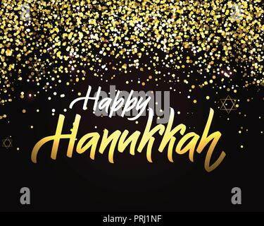 Happy Hanukkah lettering logotype, badge and icon typography.Golden glitter Lettering of jewish holiday logo template. Lettering card template. - Stock Photo