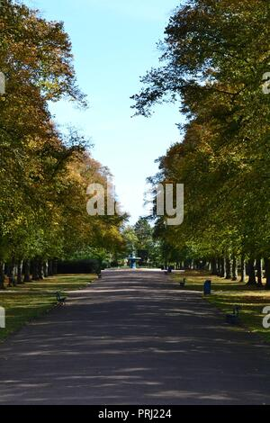 Bright, colourful, naturally lit images showing Ropner Park, a traditional British Victorian public park in Stockton-on-Tees, at the start of Autumn. Stock Photo