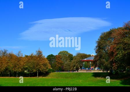 Naturally lit, colourful images of the traditional Victorian style Bandstand and its' surroundings in Autumn at Ropner Park, Stockton-on-Tees, UK. - Stock Photo