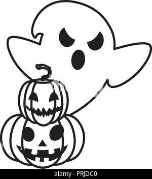 happy halloween ghost with pumpkin vector illustration design - Stock Photo