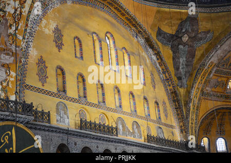 Interior of the Hagia Sophia (Ayasofya). It is the former Greek Orthodox Christian patriarchal cathedral, later an Ottoman imperial mosque - Stock Photo