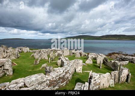 Iron Age settlement ruins, Broch of Gurness, Tingwall, Orkney Islands, Scotland, United Kingdom - Stock Photo