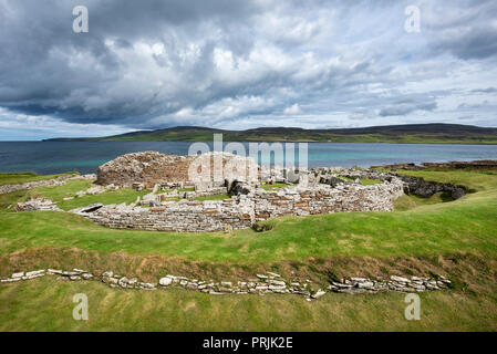 Iron Age settlement ruins, Broch of Gurness, Tingwall, Orkney Islands, Scotland, United Kingdom - Stock Photo